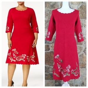 Charter Club 0X Red Scallop Hem Embroidered Dress